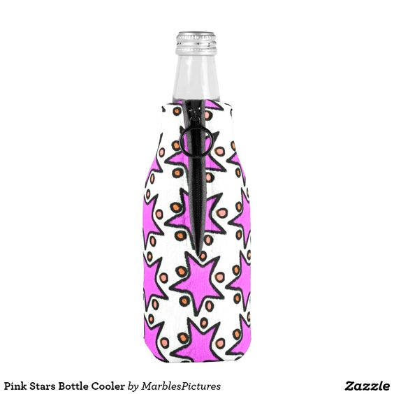 Pink Stars Bottle Cooler #bottle #cooler #stars #pink #Zazzle #pattern