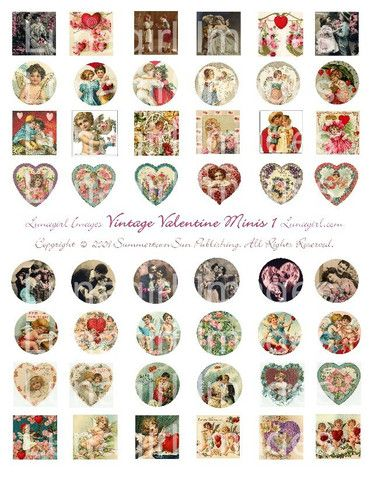 vintage valentines day craft circles squares hearts Victorian art cards printable digital download collage sheet