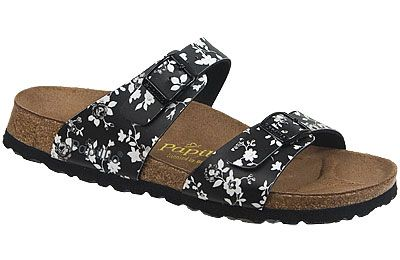 Papillio Sydney  Climbing Roses Black/White Birko-Flor  $79     Two thinner, contoured straps make this style very comfortable for those with prominent foot bones. Creative patterns and materials set the Papillio Sydney apart. The cork footbed is sculpted to match your arches providing support and all-day comfort. EVA soles are flexible, lightweight, durable and resoleable.