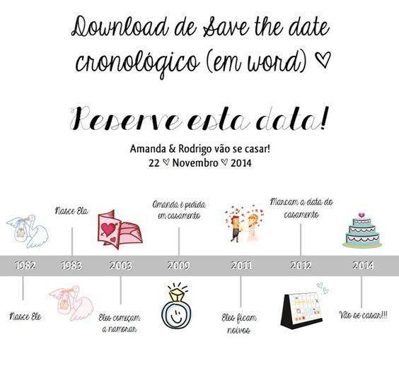Download: Save the date cronológico | Blog do Casamento - O blog da noiva criativa! | Convites e papelaria, Downloads, Papelaria