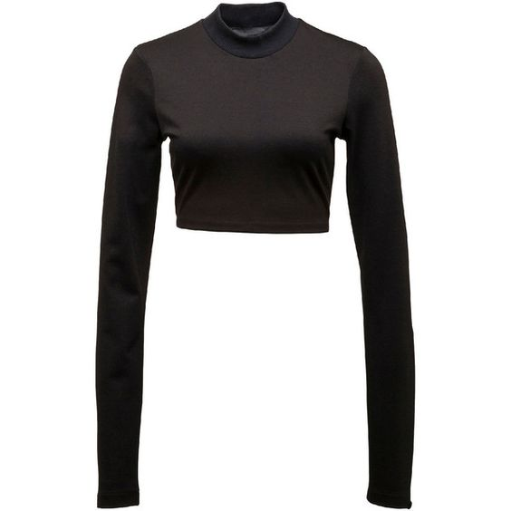 Fenty Puma By Rihanna Cropped Mock-Neck Long-Sleeve Top ($80) ❤ liked on Polyvore featuring tops, puma black, cropped pullover, mock neck crop top, sweater pullover, mock neck top and white long sleeve top