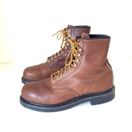 Vintage Red Wing Steel Toe Work Boots 2233 Brown by oldtanery ...