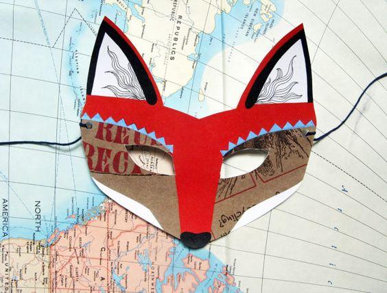 Woodland criaturas máscara Set por kissmego en Etsy