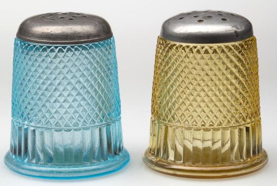 THIMBLE - RIBBED FIGURAL PAIR OF SALT AND PEPPER SHAKERS, light blue and amber…
