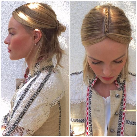 Get The Look: Kate Bosworth's Part Braided Part Bun Coachella Hair Style