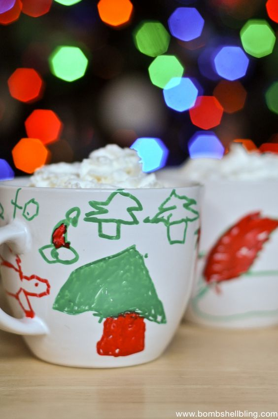 Pair these Christmas Paint Pen Mugs with hot cocoa mix and you have a killer grandparent, teacher, or neighbor gift!!