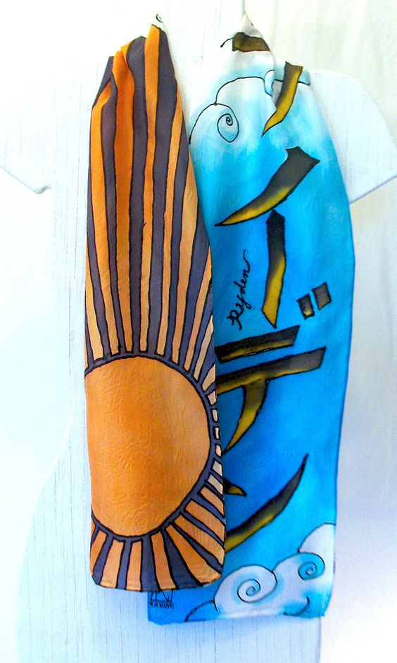 J POP NAME Silk Scarf, Rising Sun Design. Hand Painted Silk Scarf. French Silk Dye. Blue Silk Scarf. Made to Order.