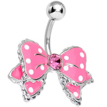 Dandy Pink and White Polka Dot Bow Belly Ring #piercing #Bodycandy #beauty