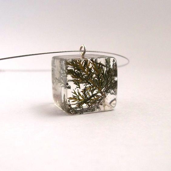 Fern Resin Pendant Green Resin Necklace by SpottedDogAsheville