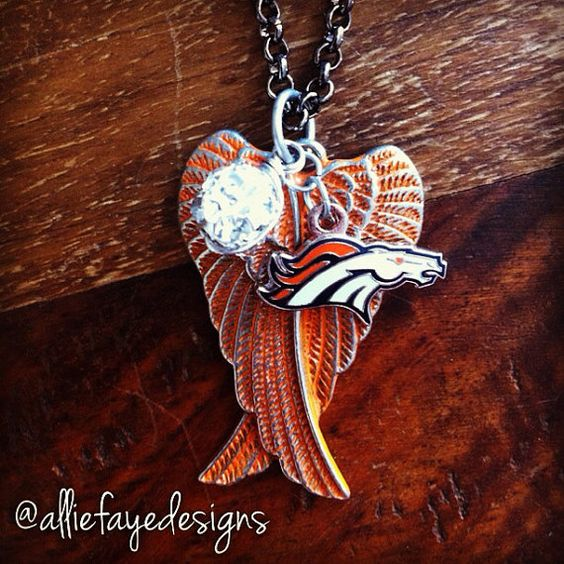 Orange patina Angel Wings and Denver Broncos football necklace by alliefayedesigns