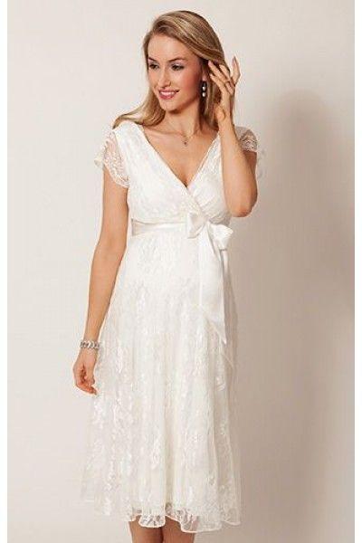 The Best Tea-length Short Sleeve  A-line  Zipper Lace Maternity Wedding Dresses