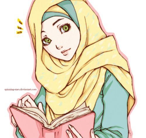 Illustration Of Muslim Woman In Hijab Reading The Quran
