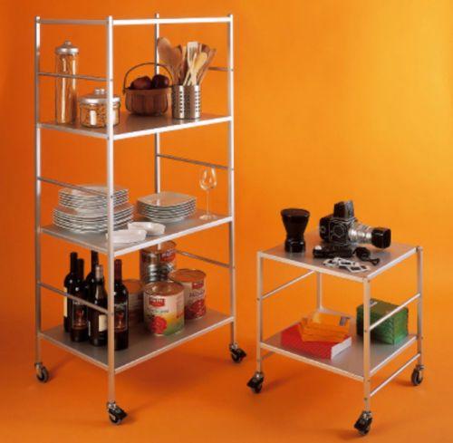 Carrello-in-alluminio-Kriptonite-con-ruote-Porta-TV-Scaffalatura-Scaffale