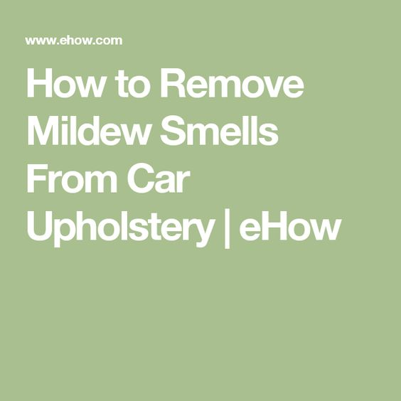 How To Remove Mildew Smells From Car Upholstery | EHow