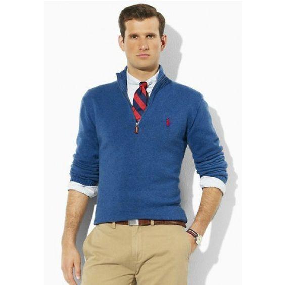 Ralph Lauren Men Mesh Cotton Half-zip Sweaters Blue  http://www.ralph-laurenoutlet.com/