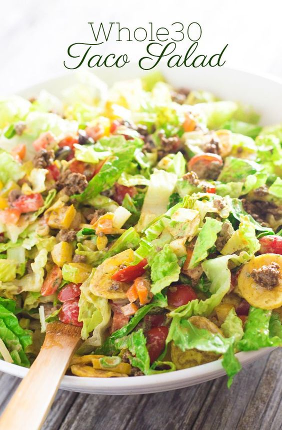 Taco Salad with Creamy Cilantro Dressing (whole30/df/cf) | http://www.worthcooking.net/taco-salad-creamy-cilantro-dressing/: