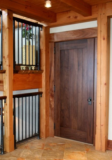 Eastern Walnut doors compliment the Douglas fir timber frame of this carriage house.   Custom Interior Doors   Pinterest   Interior door Walnut doors and ... & Eastern Walnut doors compliment the Douglas fir timber frame of ... pezcame.com