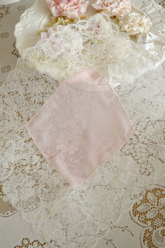 Beautiful Vintage Lace and Silk Handkerchief by Jenneliserose