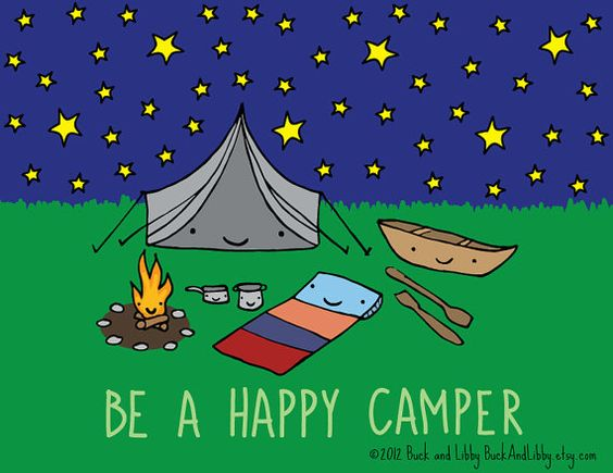 Be a Happy Camper Illustration Print by Buck and Libby