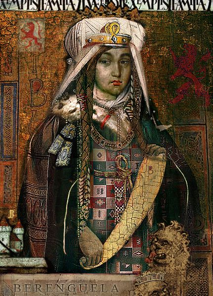 Berenguela I (c. 1179-1246), Queen of Castile (1217) in her own right. She was the daughter of Alfonso VIII and his wife, Eleanor of England. She was Queen of Leon (1197-1204) as the wife of King Alfonso IX. Her surviving children were King Fernando III of Castile-Leon, The Infante Alfonso, and The Infantas Berenguela and Constanza.