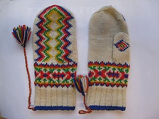 Design: A traditonal Sami/Finnish design, pattern written by Mari Olki in her books, Pirkanmaan kotityö Oy in Taito magazine, and Helmi Vuorelma in Suuri Käsityölehti magazine.