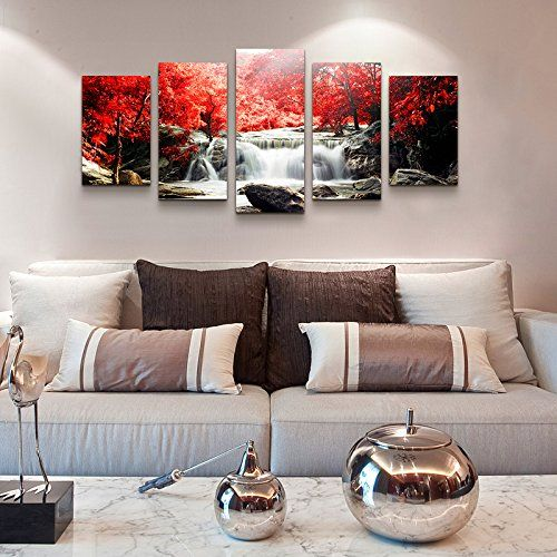 Amazon Com Youkuart Canvas Wall Art 5 Piece Red Woods Waterfall Canvas Print Paintings For Wall And Canvas Art Wall Decor Wall Decor Living Room Living Decor