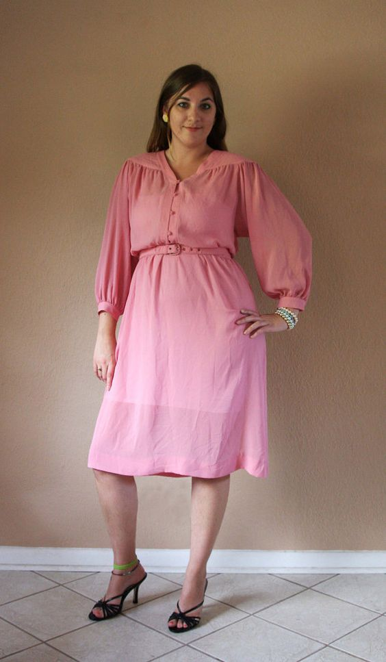 Light Pink Secretary Dress, Vintage with Matching Belt (size L)