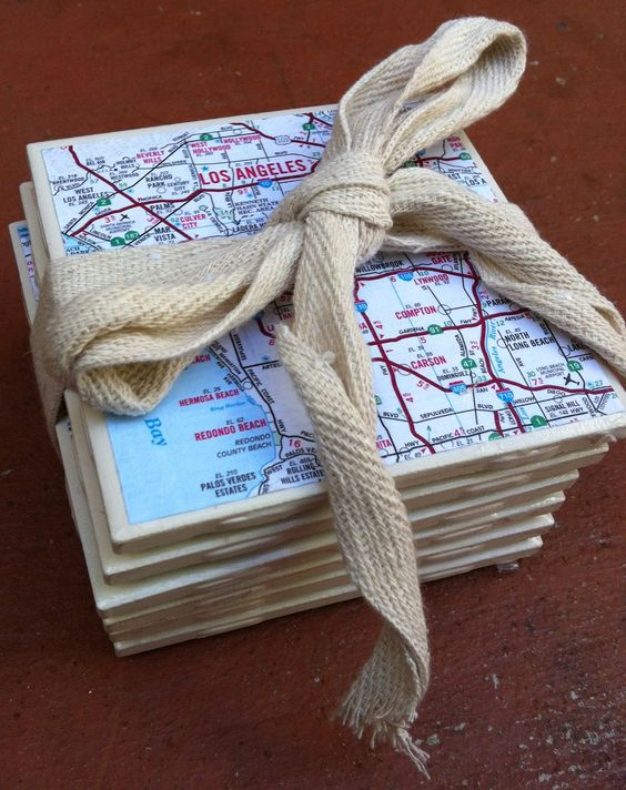 DIY Map Coasters using special Family Places.Love this!