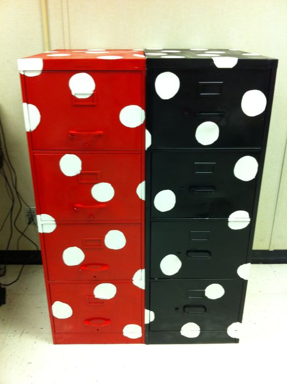 My polka dotted file cabinets...LOVE, LOVE, LOVE!!!: