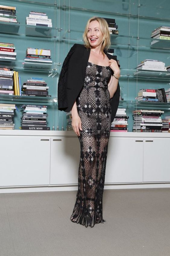 """Friday, May 27 """"Celebrate style with a show stopping gown paired with a monochromatic tailored blazer"""" -Lubov Azria. Get Lubov's look: http://bit.ly/1ObKSsM"""