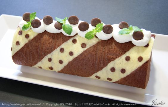 Chocolate Cake Recipe Japanese: Chocolate Mint Cake Roll (Recipe In Japanese)