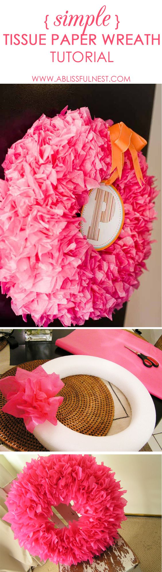 Simple and easy tissue paper wreath tutorial. How to make a gorgeous tissue paper wreath in these few simple steps.