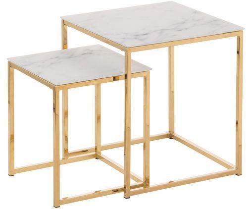 Beistelltisch 2er Set Antigua Mit Glasplatten In Weiss Gold Aus Glas Metall Von Actona Online Kaufen Gratis Vers Beistelltische Wohnzimmermobel Beistelltisch