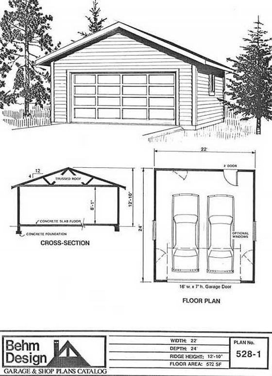 2 Car Garage Plan With Storage 1120 1 40 X 28 By Behm Garage Design Garage Plans 2 Car Garage Plans