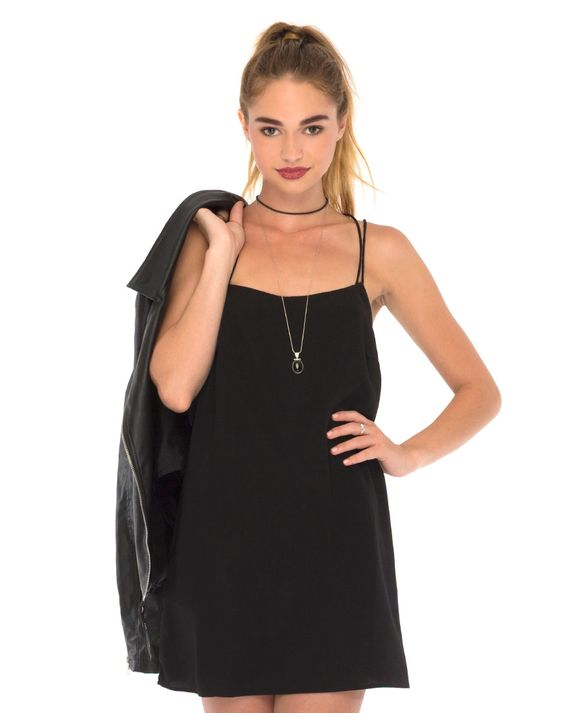 Royce Slip Dress in Black by Motel: