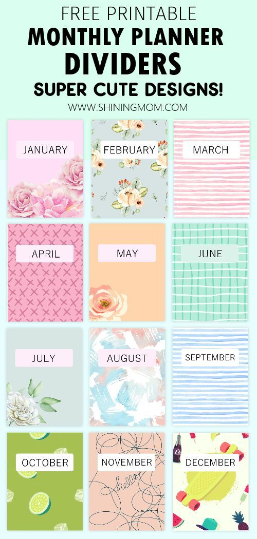 30 Free Printable Binder Covers Super Cute And Pretty Dividers Binder Covers Printable Planner Printables Free Free Printable Monthly Planner