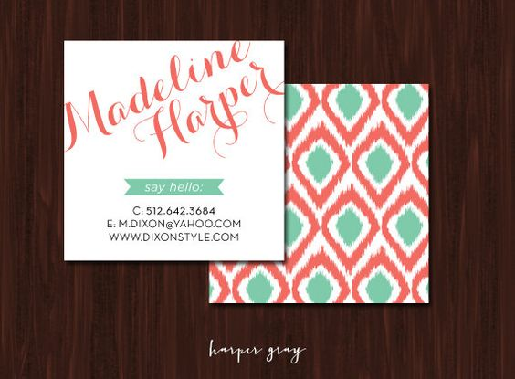 Square Ikat Business Cards // Calling Cards