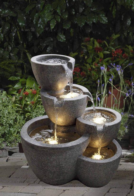 Polyresin and Fiberglass Muiti Pot Fountain