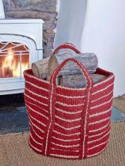 Red Striped Jute Storage Bag