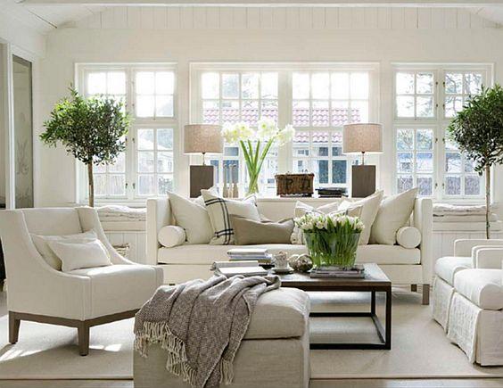 green plants flowers white neutral living room