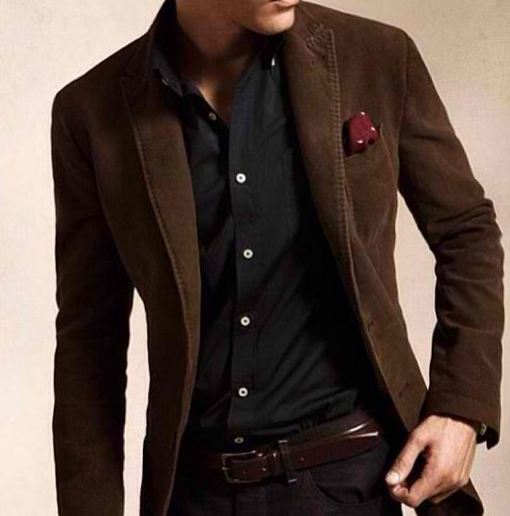 Dark brown blazer on black shirt. | Men Style and Elegance