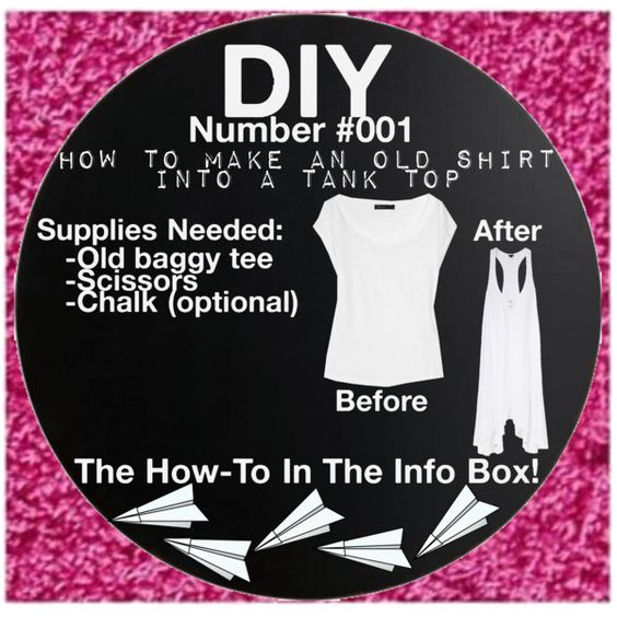 """DIY #001 - How To Make An Old Shirt Into A Tank Top"" by getcraftsy on Polyvore"