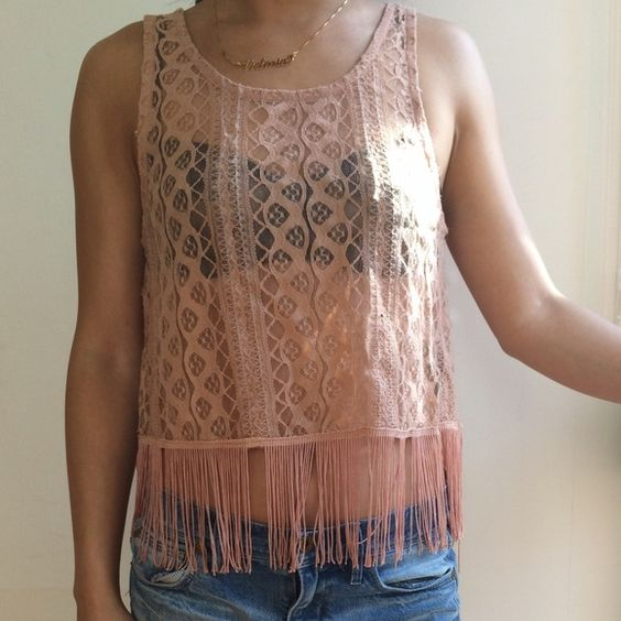 Festival fringed lace crop top Tea Pink lace crop top with a cute fringe. Perfect for music festivals. Got it at a thrift store in Portland, ME. Put UO for visibility Urban Outfitters Tops Crop Tops