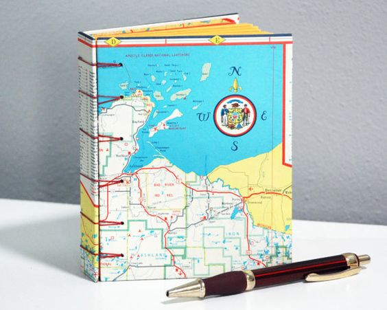 Apostle Islands and Northern Wisconsin Vintage Recycled Map – Wisconsin Travel Map