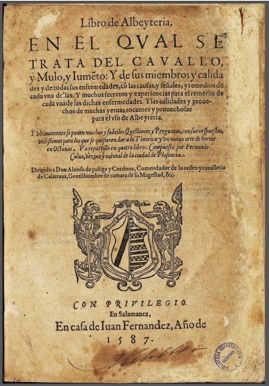 Calvo, Fernando.Libro deAlbeytería. Portada