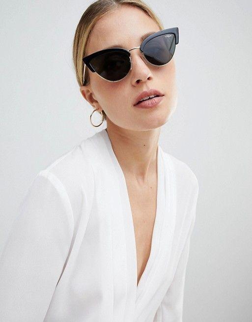 invicto x comprar más nuevo Venta barata Gafas de sol negras en forma de ojos de gato de Vogue ...