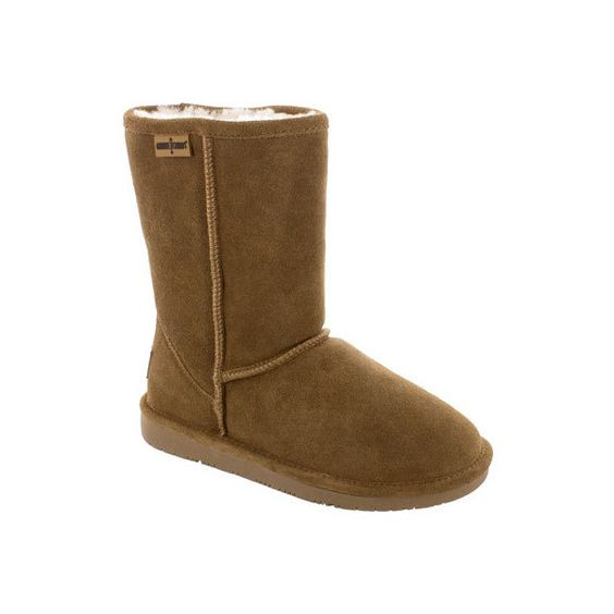 """Women's Minnetonka Calgary 8"""" Short Boot - Tan Cow Suede Back to... ($60) ❤ liked on Polyvore"""