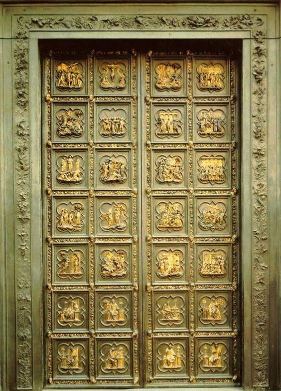Puerta Del Baptisterio De La Catedral De Florencia Italia