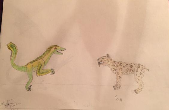 Velociraptor and Smilodon cub-by:Madison Latella