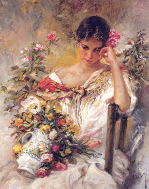 Jose Royo - Many oil paintings of beautiful women. Lovely gentle ...